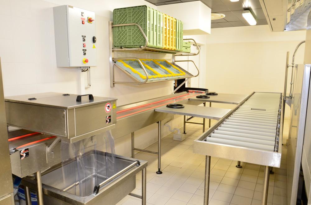 entrée laverie - bicordes - poste de tri - extracteur magnetique de couverts