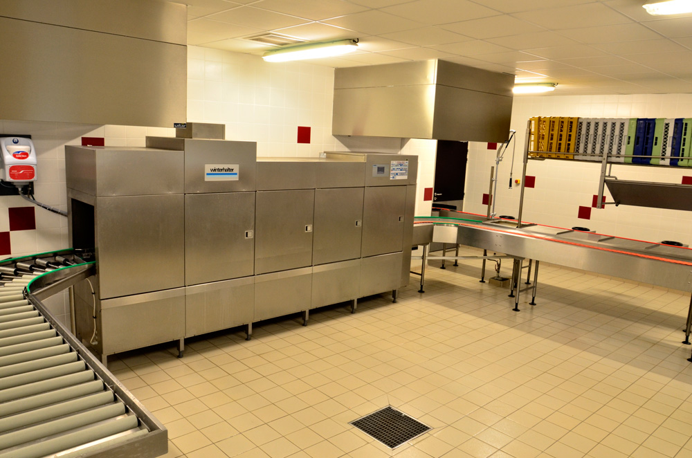 laverie vaisselle - entrée laverie - convoyeur bicordes